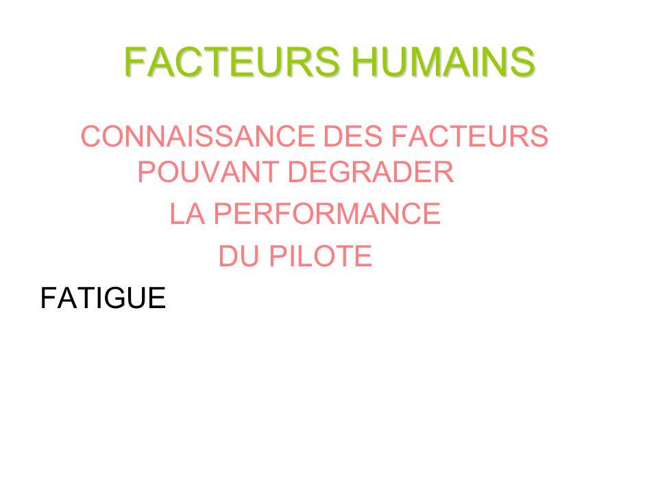 FACTEURS HUMAINS CONNAISSANCE DES FACTEURS POUVANT DEGRADER LA PERFORMANCE DU PILOTE FATIGUE