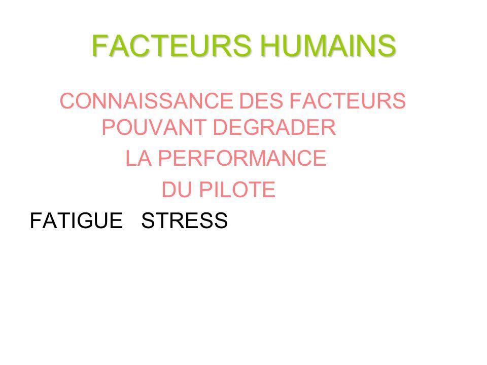 FACTEURS HUMAINS CONNAISSANCE DES FACTEURS POUVANT DEGRADER LA PERFORMANCE DU PILOTE FATIGUE STRESS