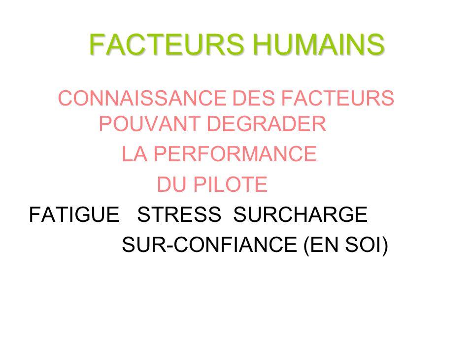 FACTEURS HUMAINS CONNAISSANCE DES FACTEURS POUVANT DEGRADER LA PERFORMANCE DU PILOTE FATIGUE STRESS SURCHARGE SUR-CONFIANCE (EN SOI)