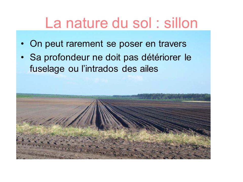 La nature du sol : sillon On peut rarement se poser en travers Sa profondeur ne doit pas détériorer le fuselage ou lintrados des ailes