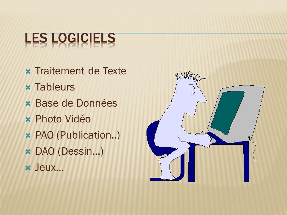 Traitement de Texte Tableurs Base de Données Photo Vidéo PAO (Publication..) DAO (Dessin...) Jeux...