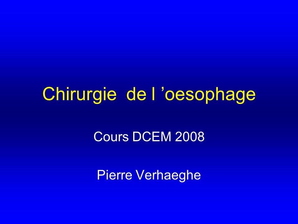 Chirurgie de l oesophage Cours DCEM 2008 Pierre Verhaeghe