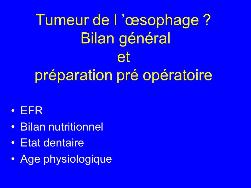Tumeur de l œsophage ? Bilan général et préparation pré opératoire EFR Bilan nutritionnel Etat dentaire Age physiologique
