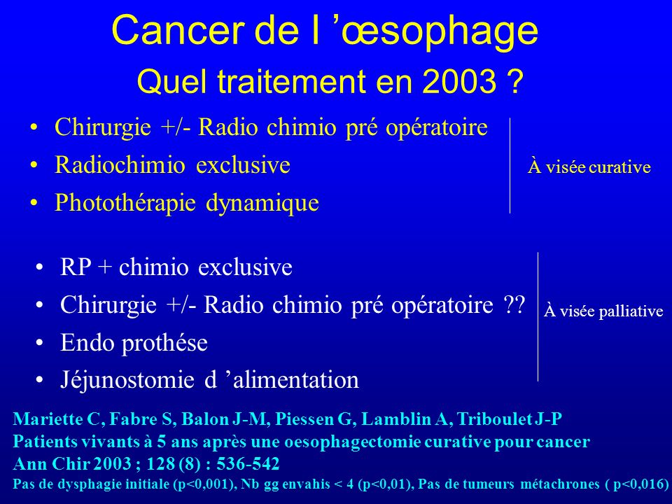 Cancer de l œsophage Quel traitement en 2003 .