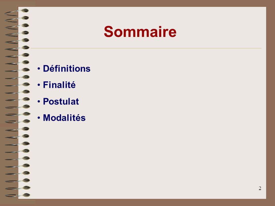 2 Définitions Finalité Postulat Modalités Sommaire