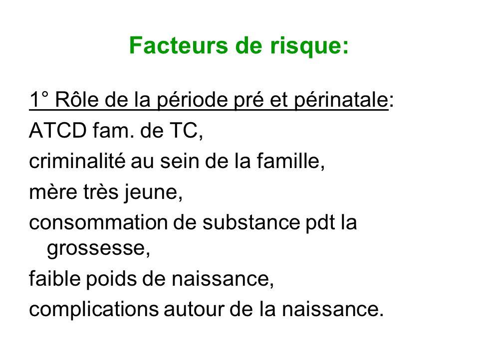 Facteurs de risque: 1° Rôle de la période pré et périnatale: ATCD fam. de TC, criminalité au sein de la famille, mère très jeune, consommation de subs