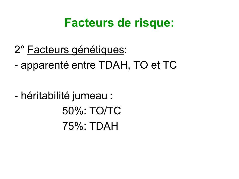 Facteurs de risque: 2° Facteurs génétiques: - apparenté entre TDAH, TO et TC - héritabilité jumeau : 50%: TO/TC 75%: TDAH