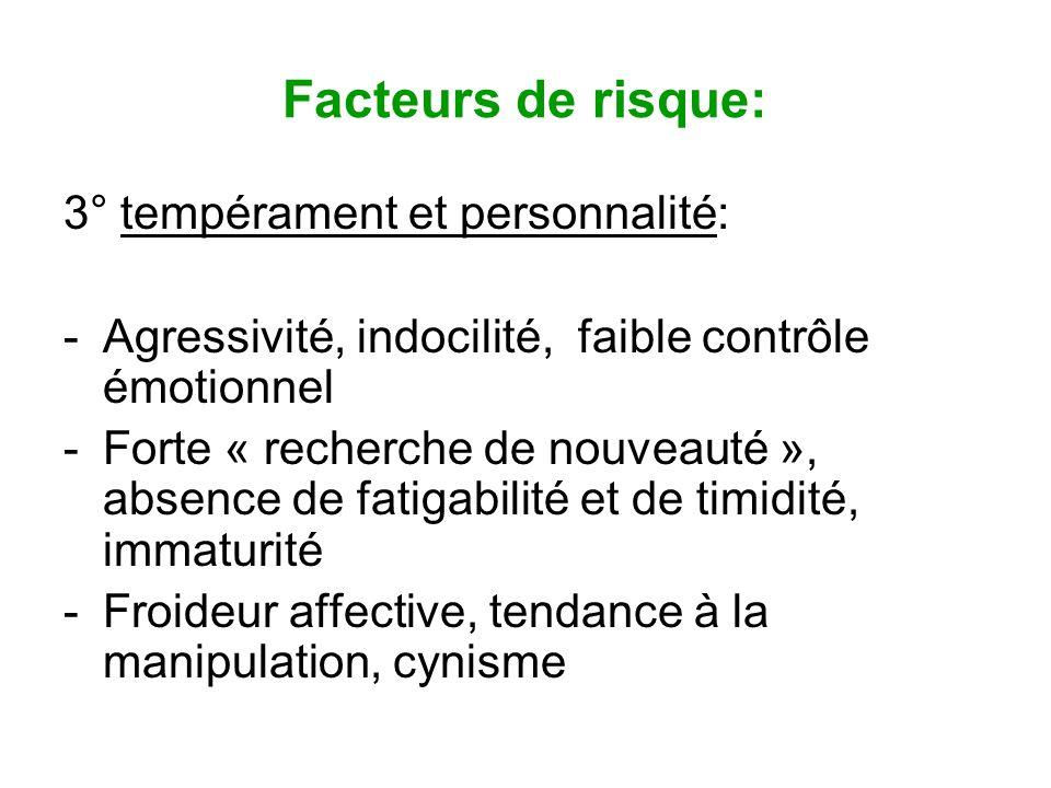 Facteurs de risque: 3° tempérament et personnalité: -Agressivité, indocilité, faible contrôle émotionnel -Forte « recherche de nouveauté », absence de