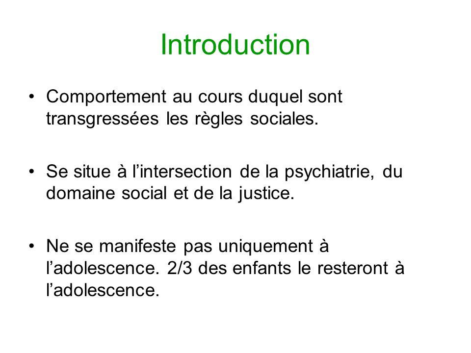 Introduction Comportement au cours duquel sont transgressées les règles sociales. Se situe à lintersection de la psychiatrie, du domaine social et de