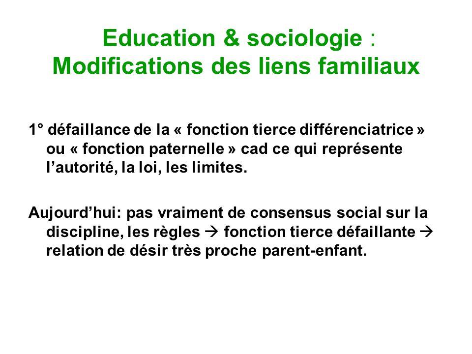 Education & sociologie : Modifications des liens familiaux 1° défaillance de la « fonction tierce différenciatrice » ou « fonction paternelle » cad ce
