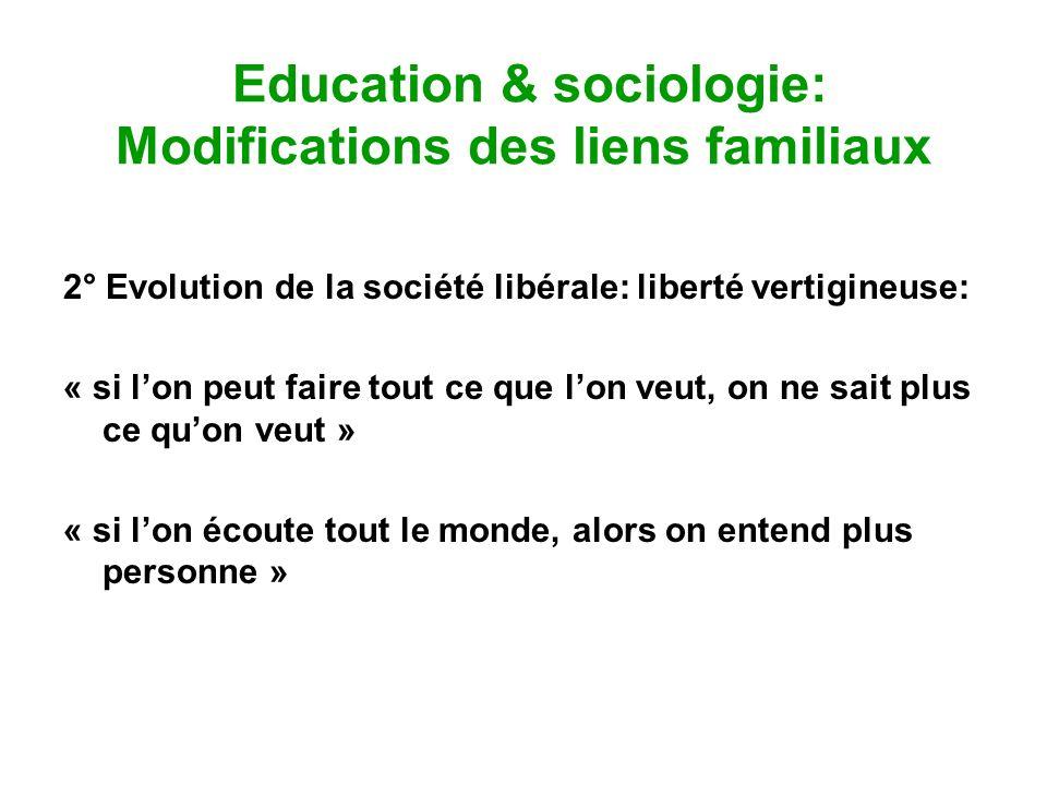 Education & sociologie: Modifications des liens familiaux 2° Evolution de la société libérale: liberté vertigineuse: « si lon peut faire tout ce que l