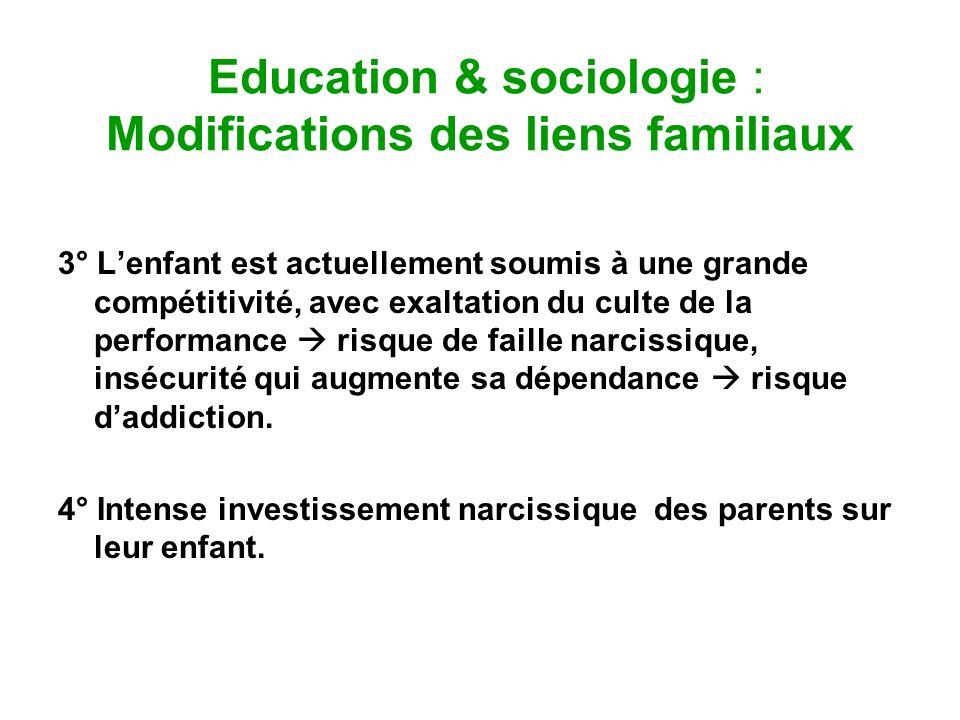 Education & sociologie : Modifications des liens familiaux 3° Lenfant est actuellement soumis à une grande compétitivité, avec exaltation du culte de