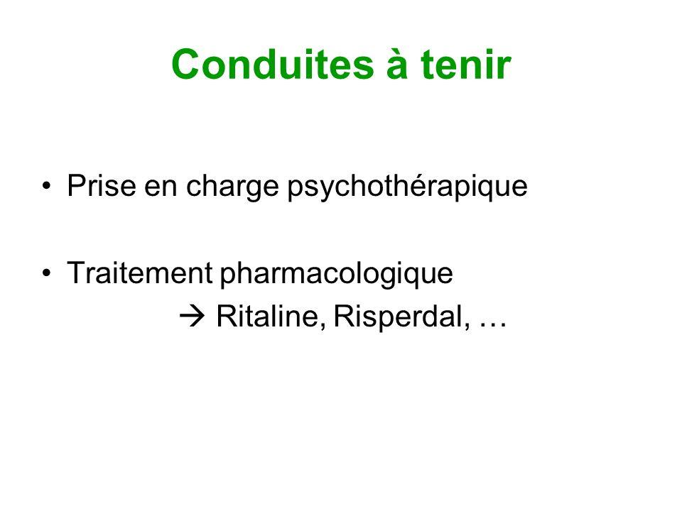 Conduites à tenir Prise en charge psychothérapique Traitement pharmacologique Ritaline, Risperdal, …