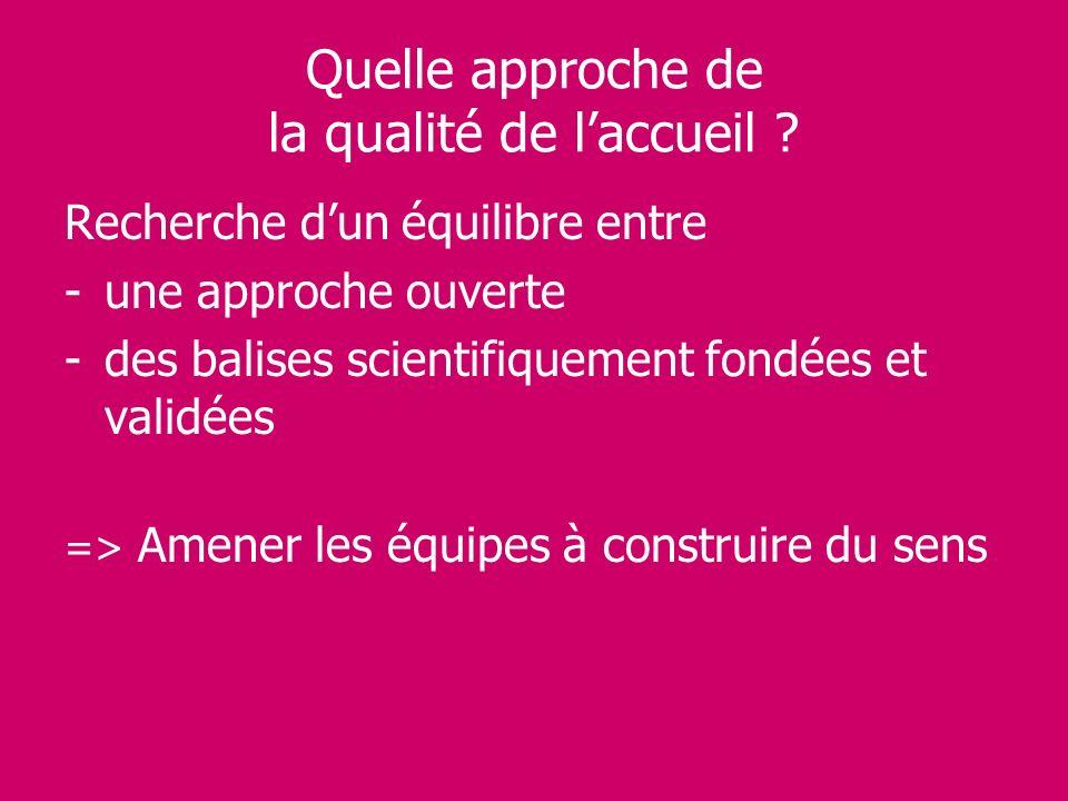 Quelle approche de la qualité de laccueil ? Recherche dun équilibre entre -une approche ouverte -des balises scientifiquement fondées et validées => A