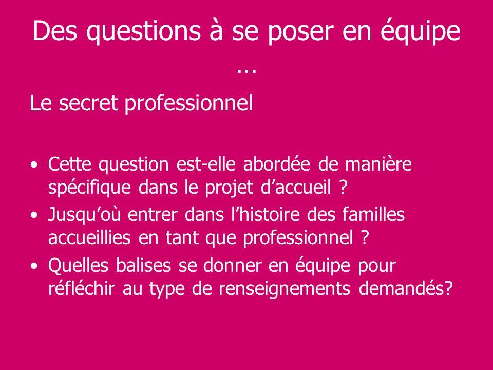 Des questions à se poser en équipe … Le secret professionnel Cette question est-elle abordée de manière spécifique dans le projet daccueil ? Jusquoù e