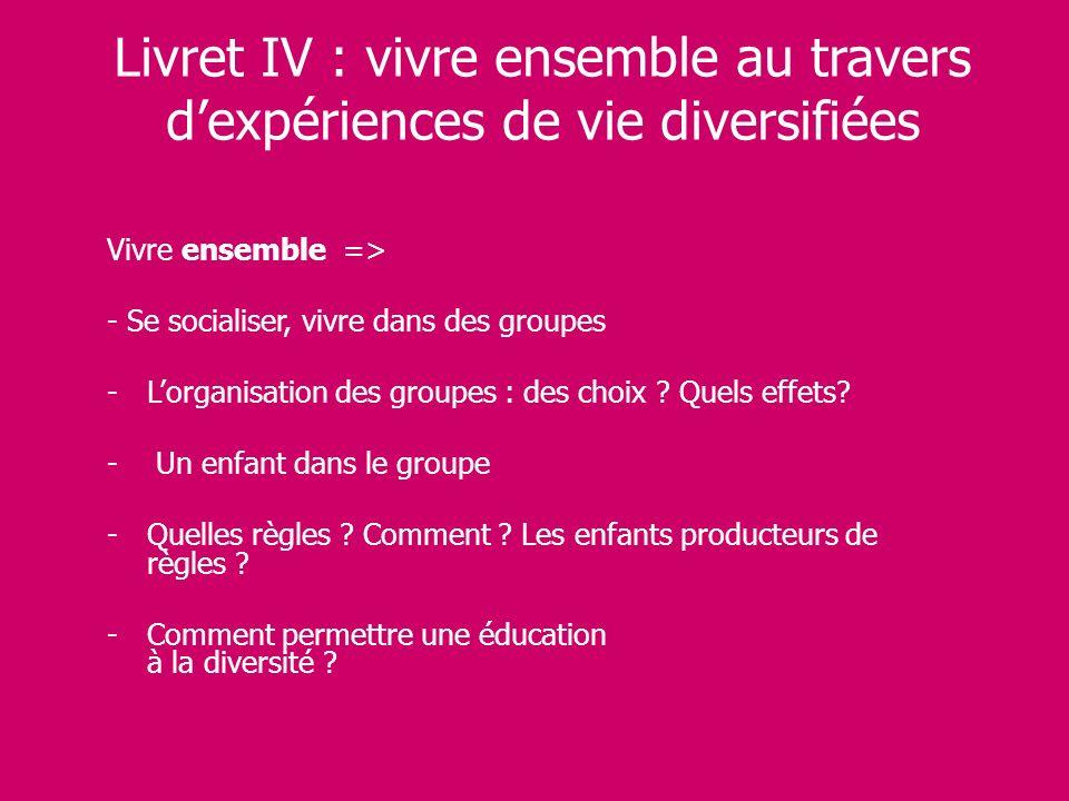 Livret IV : vivre ensemble au travers dexpériences de vie diversifiées Vivre ensemble => - Se socialiser, vivre dans des groupes -Lorganisation des gr