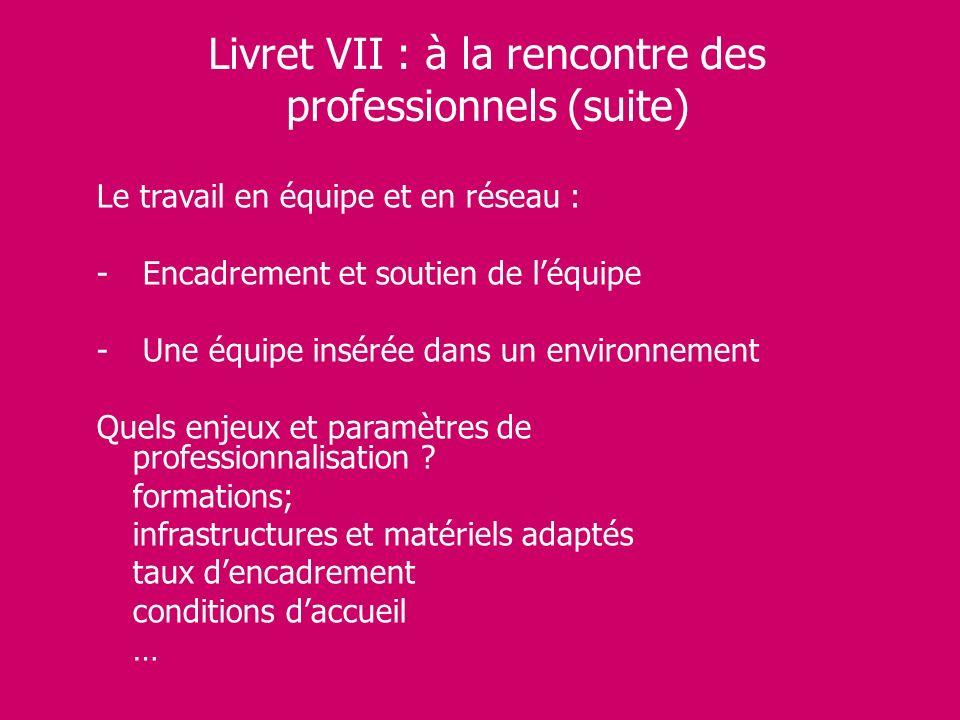 Livret VII : à la rencontre des professionnels (suite) Le travail en équipe et en réseau : - Encadrement et soutien de léquipe - Une équipe insérée da