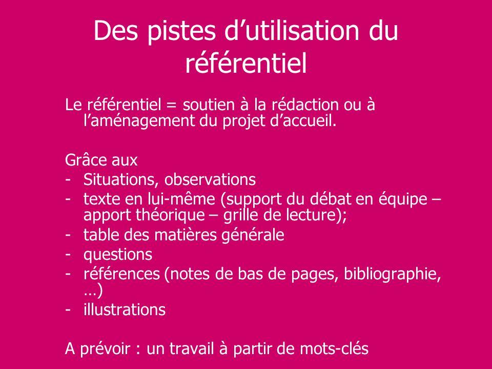 Des pistes dutilisation du référentiel Le référentiel = soutien à la rédaction ou à laménagement du projet daccueil. Grâce aux -Situations, observatio
