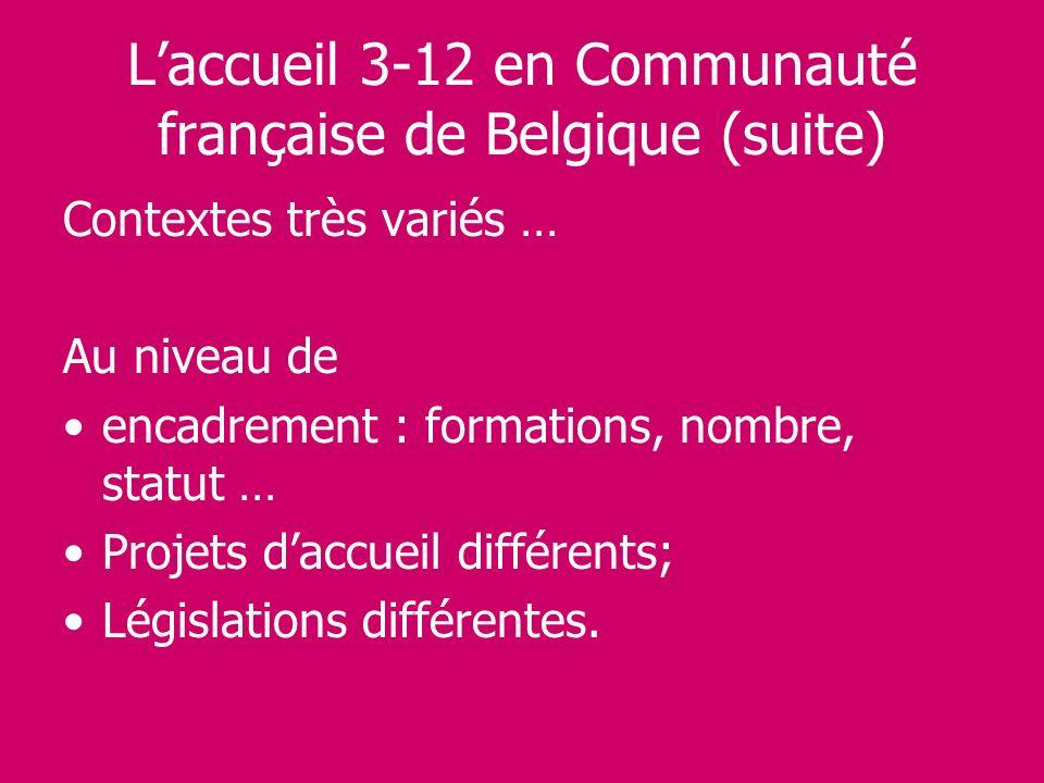 Laccueil 3-12 en Communauté française de Belgique (suite) Contextes très variés … Au niveau de encadrement : formations, nombre, statut … Projets dacc