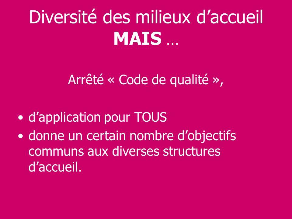 Diversité des milieux daccueil MAIS … Arrêté « Code de qualité », dapplication pour TOUS donne un certain nombre dobjectifs communs aux diverses struc