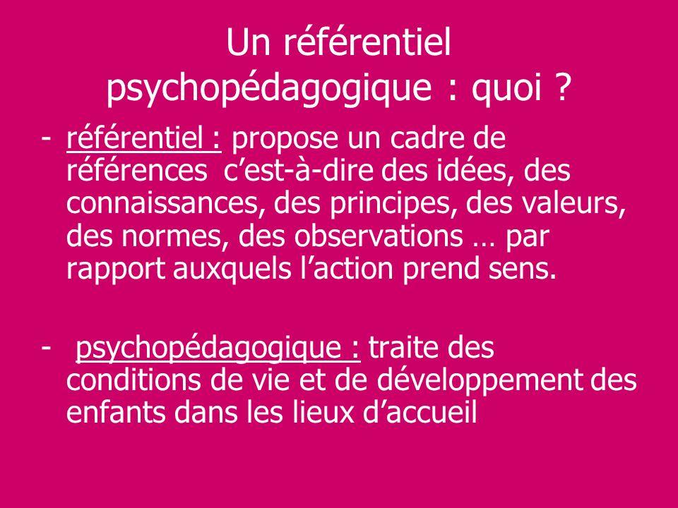 Un référentiel psychopédagogique : quoi ? -référentiel : propose un cadre de références cest-à-dire des idées, des connaissances, des principes, des v