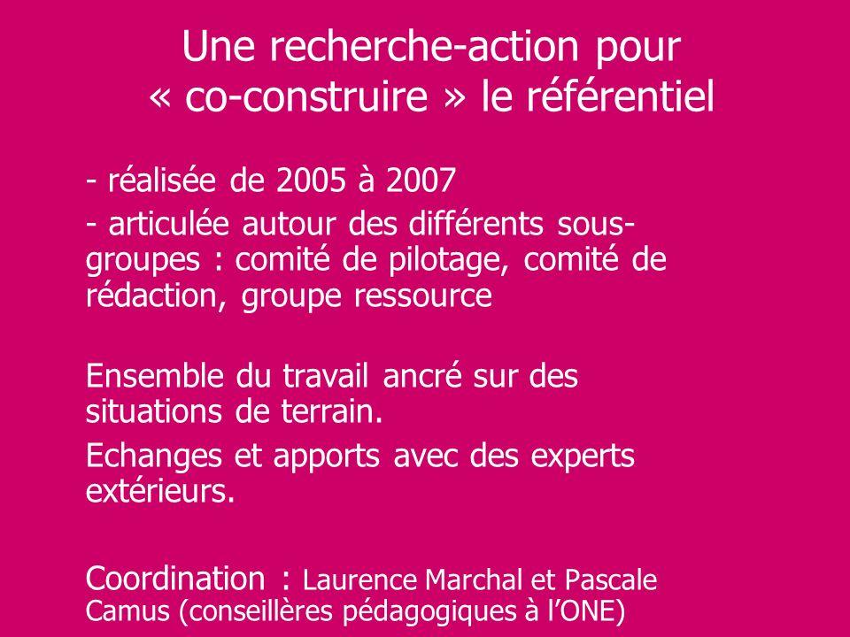 Une recherche-action pour « co-construire » le référentiel - réalisée de 2005 à 2007 - articulée autour des différents sous- groupes : comité de pilot