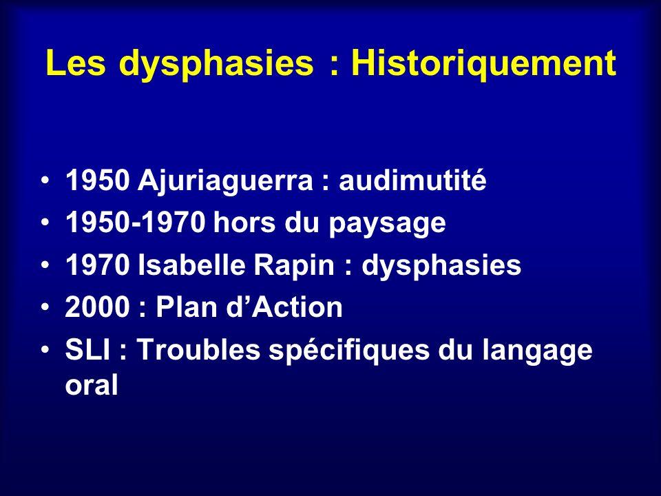 Les dysphasies : Historiquement 1950 Ajuriaguerra : audimutité 1950-1970 hors du paysage 1970 Isabelle Rapin : dysphasies 2000 : Plan dAction SLI : Tr