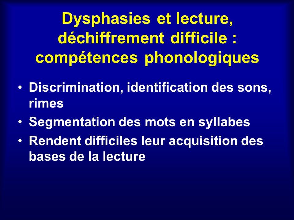 Dysphasies et lecture, déchiffrement difficile : compétences phonologiques Discrimination, identification des sons, rimes Segmentation des mots en syl