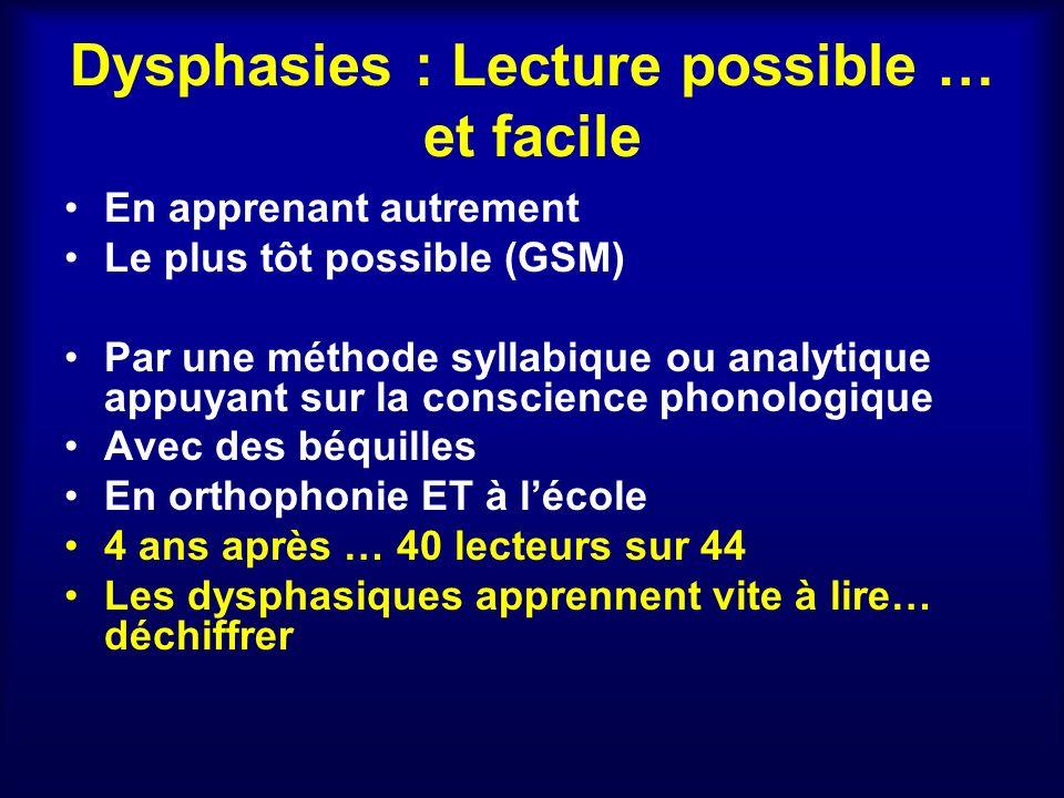 Dysphasies : Lecture possible … et facile En apprenant autrement Le plus tôt possible (GSM) Par une méthode syllabique ou analytique appuyant sur la c