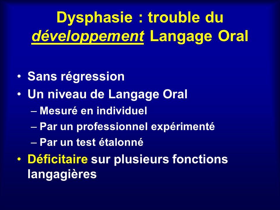 Dysphasie : trouble du développement Langage Oral Sans régression Un niveau de Langage Oral –Mesuré en individuel –Par un professionnel expérimenté –P