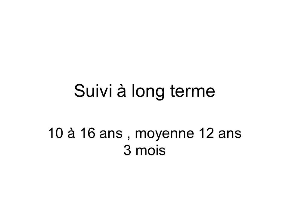Suivi à long terme 10 à 16 ans, moyenne 12 ans 3 mois