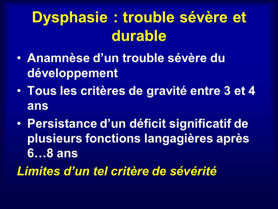 Dysphasie : trouble sévère et durable Anamnèse dun trouble sévère du développement Tous les critères de gravité entre 3 et 4 ans Persistance dun défic
