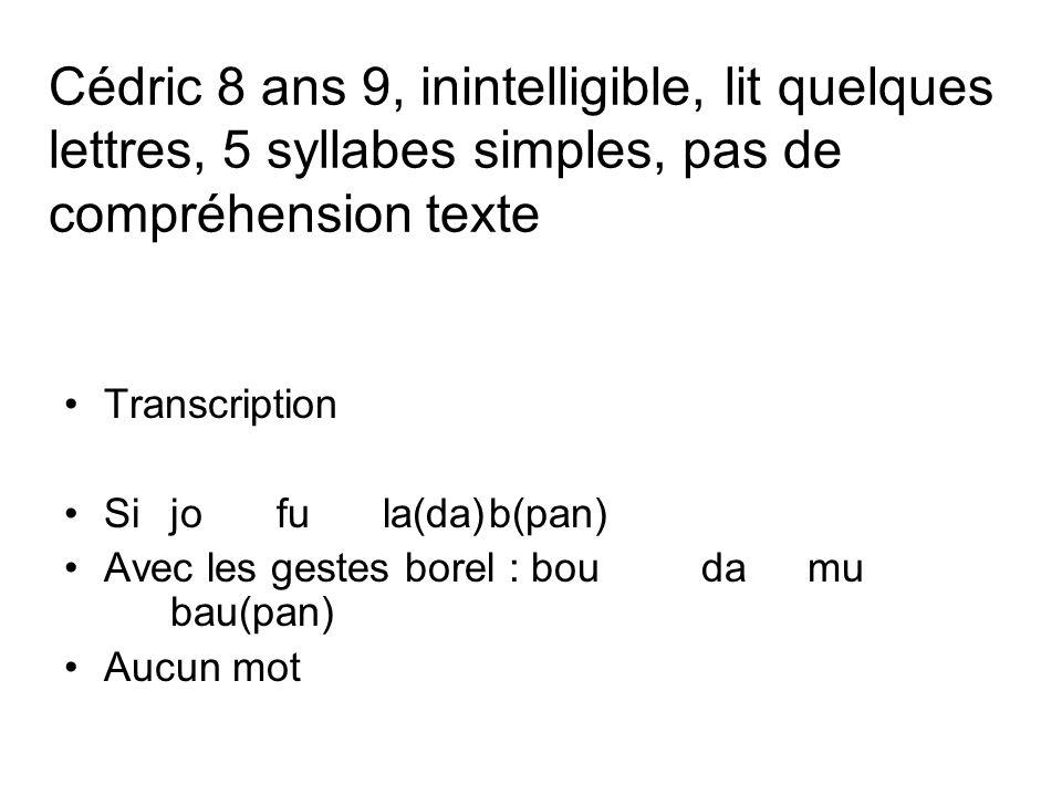 Cédric 8 ans 9, inintelligible, lit quelques lettres, 5 syllabes simples, pas de compréhension texte Transcription Sijofula(da)b(pan) Avec les gestes