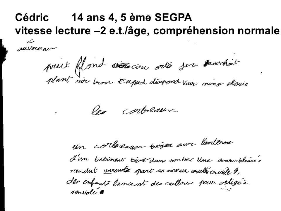 Cédric14 ans 4, 5 ème SEGPA vitesse lecture –2 e.t./âge, compréhension normale
