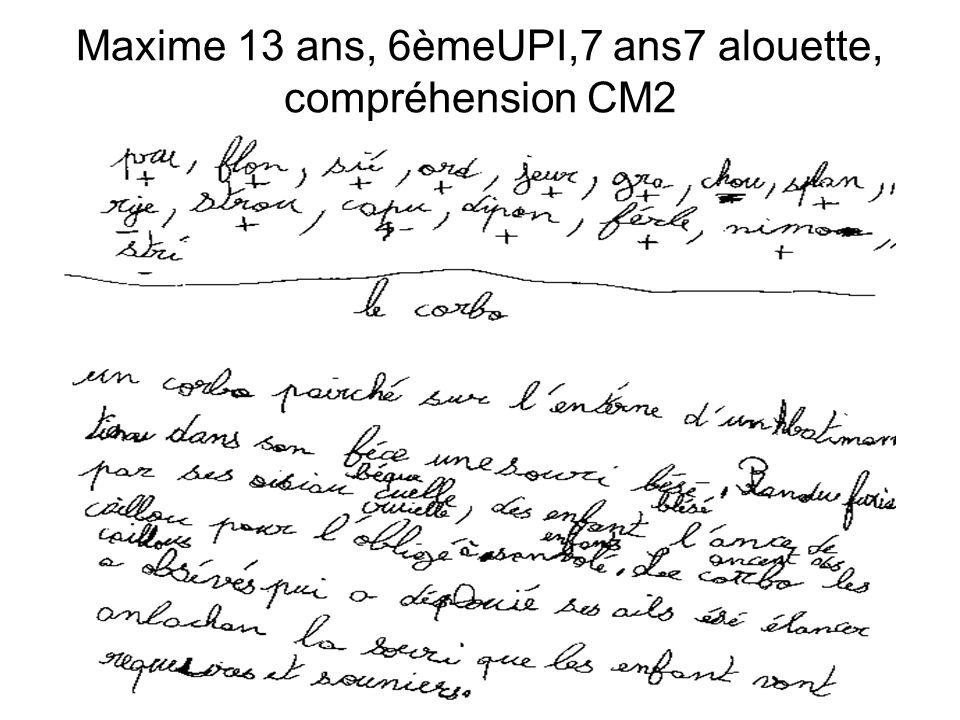 Maxime 13 ans, 6èmeUPI,7 ans7 alouette, compréhension CM2