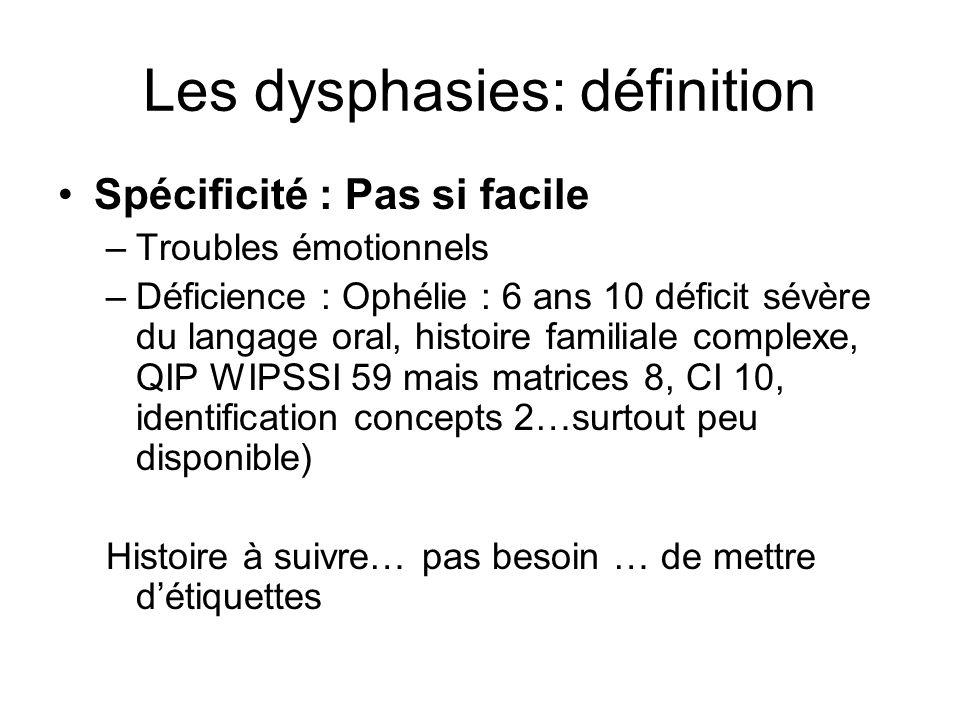 Les dysphasies: définition Spécificité : Pas si facile –Troubles émotionnels –Déficience : Ophélie : 6 ans 10 déficit sévère du langage oral, histoire