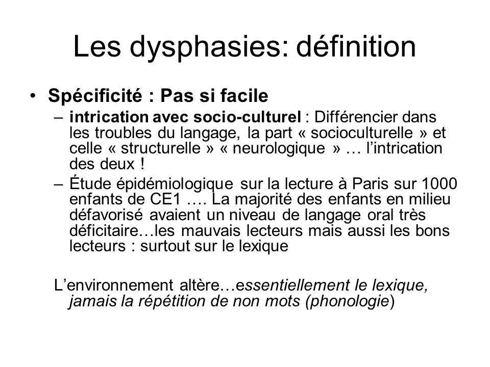 Les dysphasies: définition Spécificité : Pas si facile –intrication avec socio-culturel : Différencier dans les troubles du langage, la part « sociocu