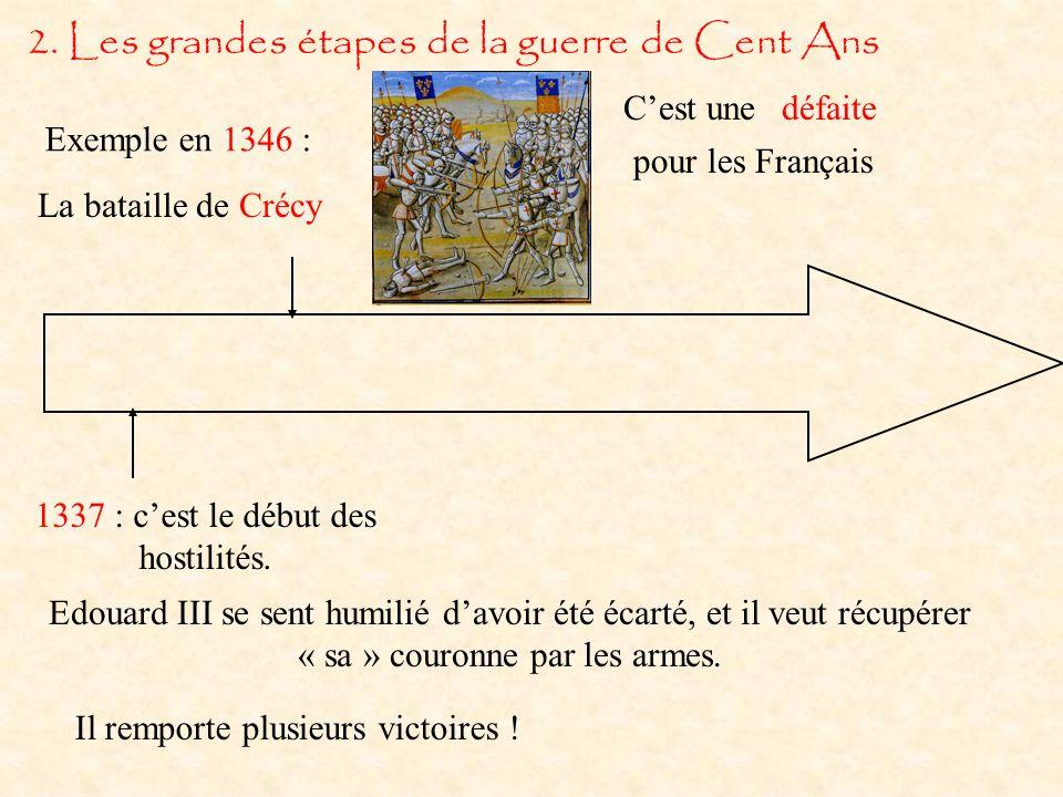 2.Les grandes étapes de la guerre de Cent Ans 1337 : cest le début des hostilités.