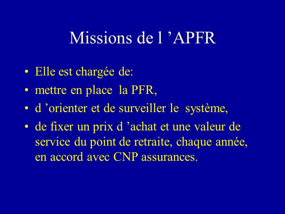 Missions de l APFR Elle est chargée de: mettre en place la PFR, d orienter et de surveiller le système, de fixer un prix d achat et une valeur de serv