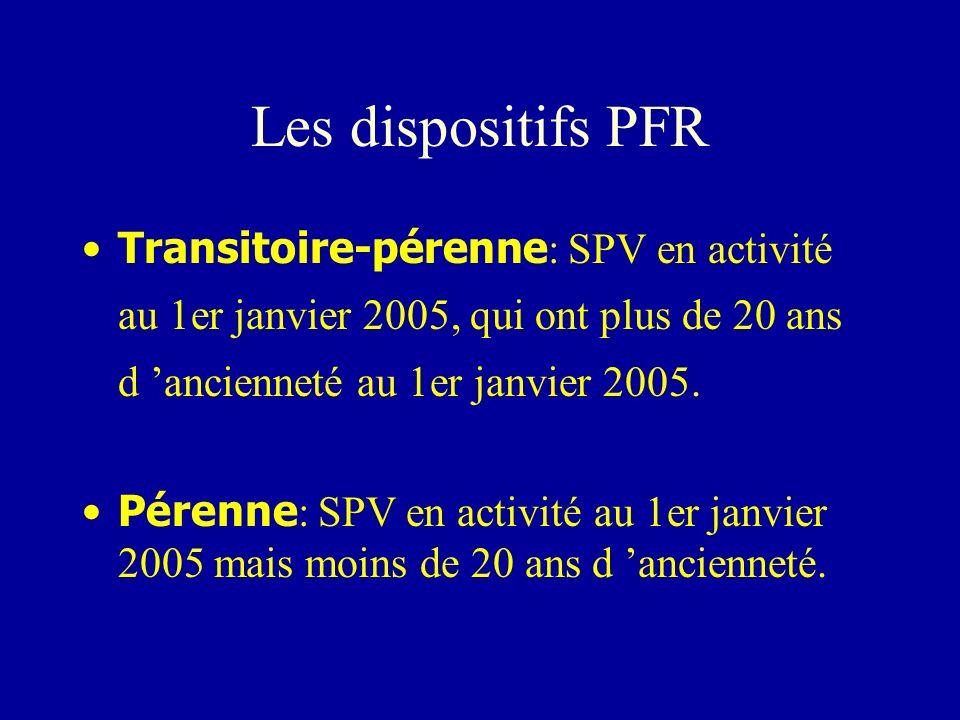 Les dispositifs PFR Transitoire-pérenne : SPV en activité au 1er janvier 2005, qui ont plus de 20 ans d ancienneté au 1er janvier 2005. Pérenne : SPV