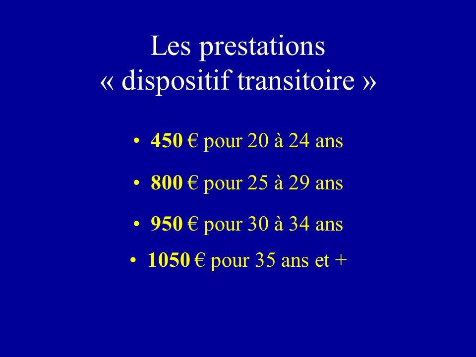 Les prestations « dispositif transitoire » 450 pour 20 à 24 ans 800 pour 25 à 29 ans 950 pour 30 à 34 ans 1050 pour 35 ans et +