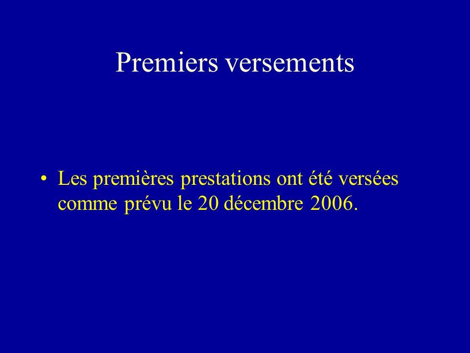 Premiers versements Les premières prestations ont été versées comme prévu le 20 décembre 2006.