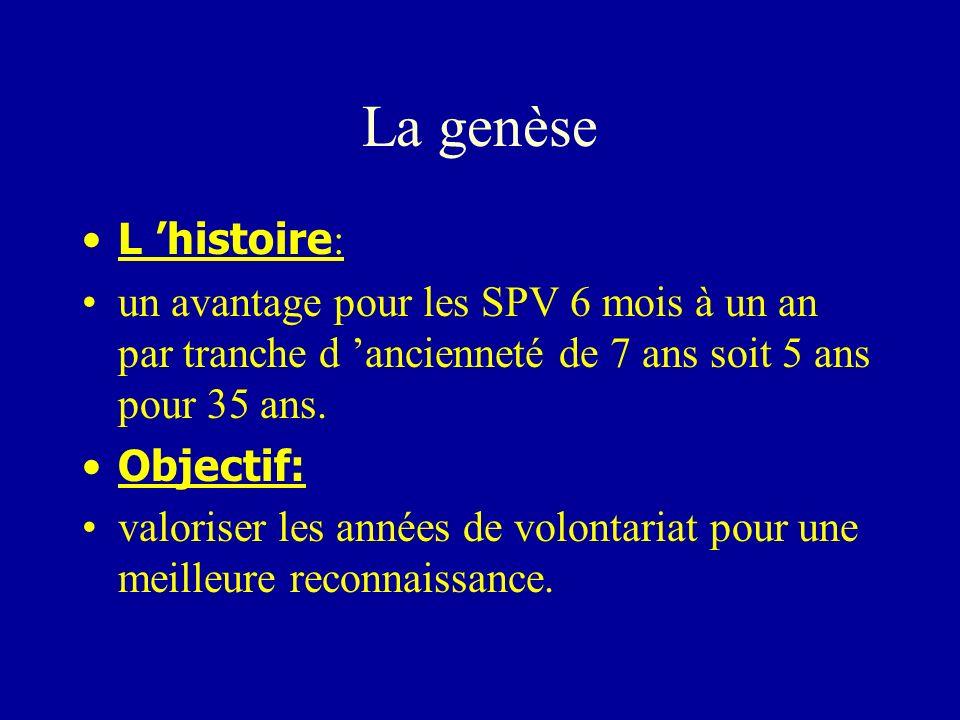 La genèse L histoire : un avantage pour les SPV 6 mois à un an par tranche d ancienneté de 7 ans soit 5 ans pour 35 ans. Objectif: valoriser les année