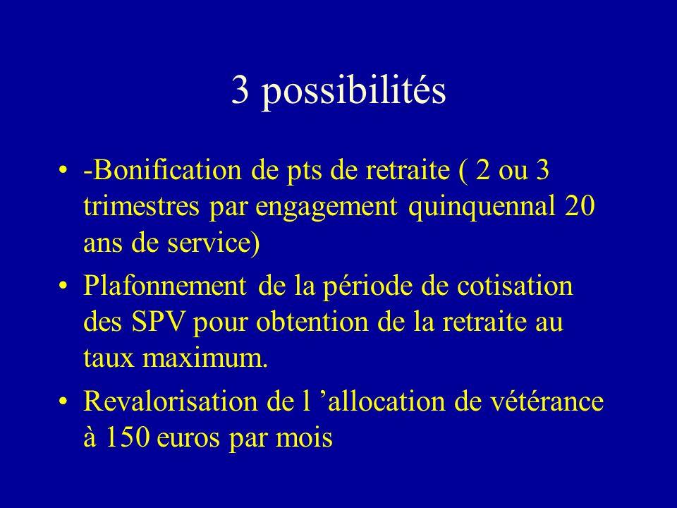 3 possibilités -Bonification de pts de retraite ( 2 ou 3 trimestres par engagement quinquennal 20 ans de service) Plafonnement de la période de cotisa