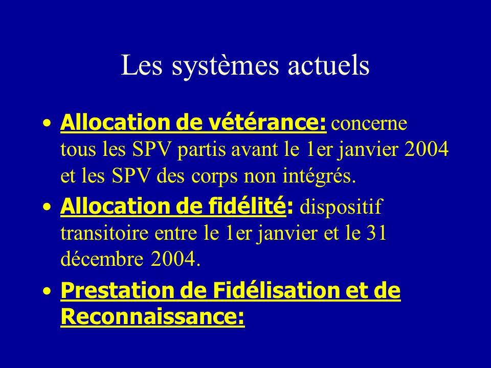Les systèmes actuels Allocation de vétérance: concerne tous les SPV partis avant le 1er janvier 2004 et les SPV des corps non intégrés. Allocation de