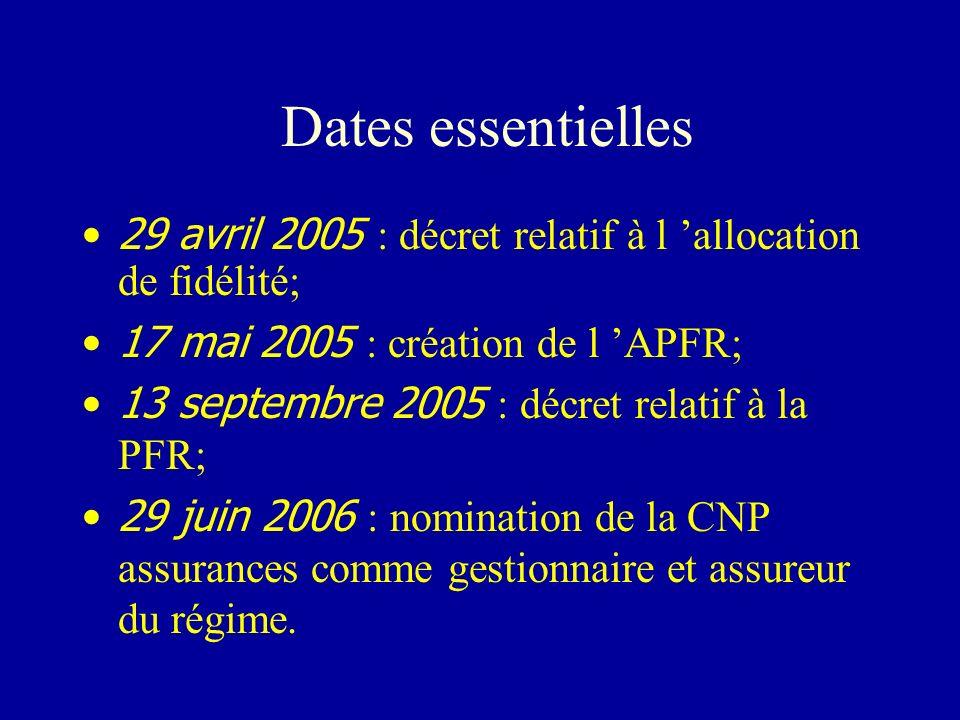 Dates essentielles 29 avril 2005 : décret relatif à l allocation de fidélité; 17 mai 2005 : création de l APFR; 13 septembre 2005 : décret relatif à l