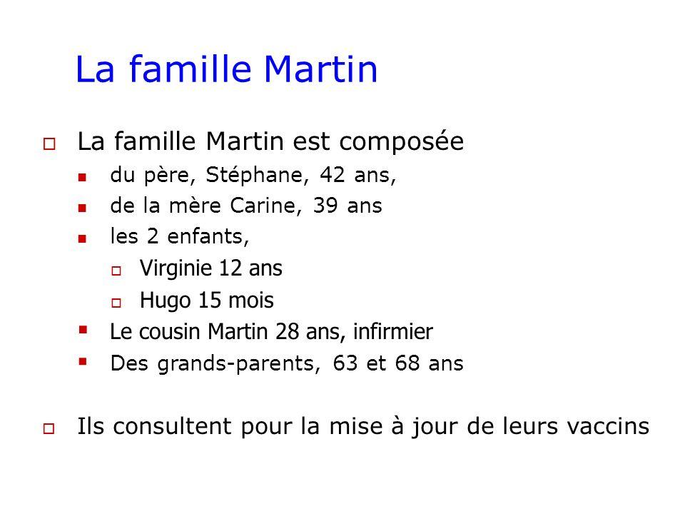 La famille Martin La famille Martin est composée du père, Stéphane, 42 ans, de la mère Carine, 39 ans les 2 enfants, Virginie 12 ans Hugo 15 mois Le c