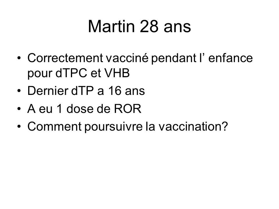 Martin 28 ans Correctement vacciné pendant l enfance pour dTPC et VHB Dernier dTP a 16 ans A eu 1 dose de ROR Comment poursuivre la vaccination?