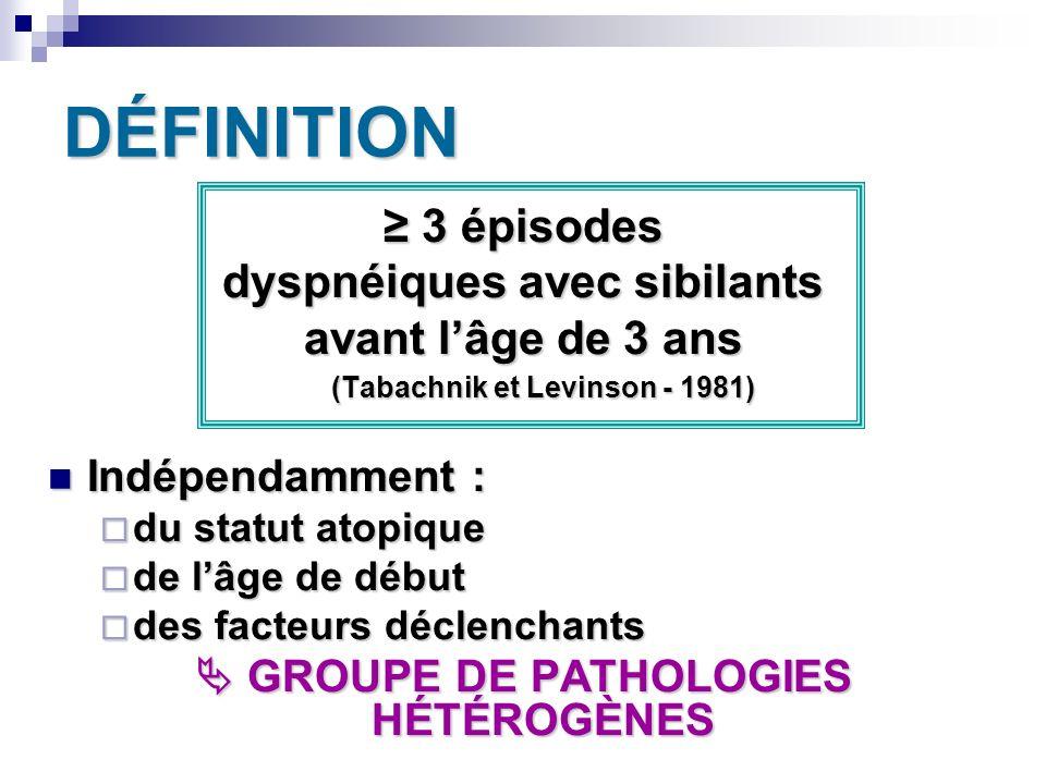 DÉFINITION 3 épisodes 3 épisodes dyspnéiques avec sibilants avant lâge de 3 ans (Tabachnik et Levinson - 1981) Indépendamment : Indépendamment : du st