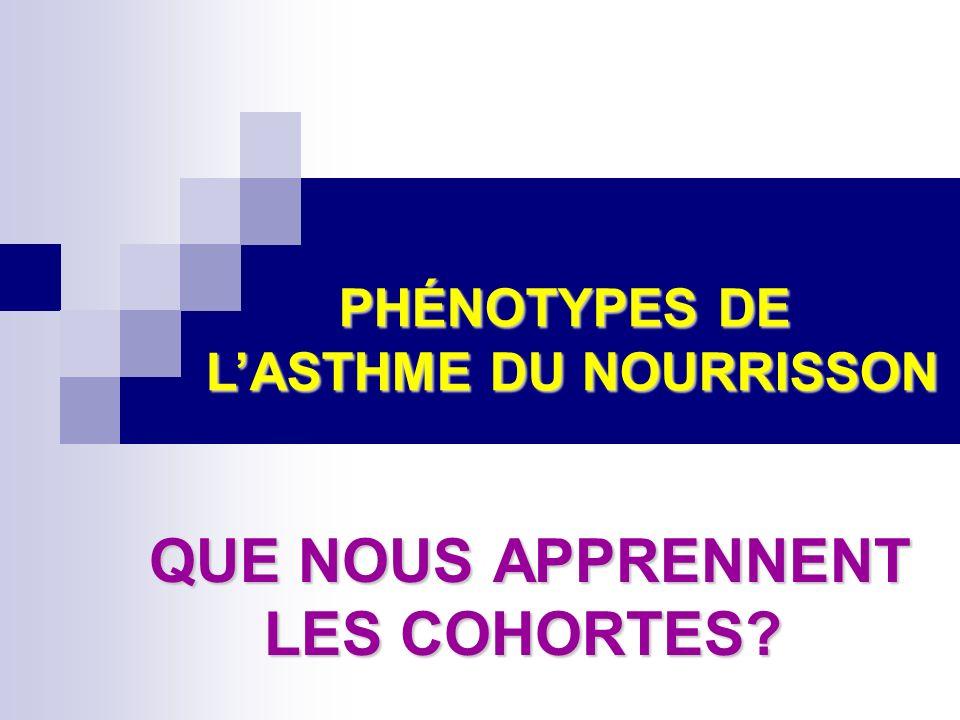 QUE NOUS APPRENNENT LES COHORTES? QUE NOUS APPRENNENT LES COHORTES? PHÉNOTYPES DE LASTHME DU NOURRISSON